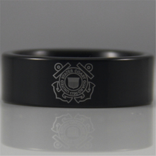 Envío gratis ygk joyería de las ventas calientes 8mm negro tubería de guardacostas de diseño nuevo tungsten anillo comfort fit
