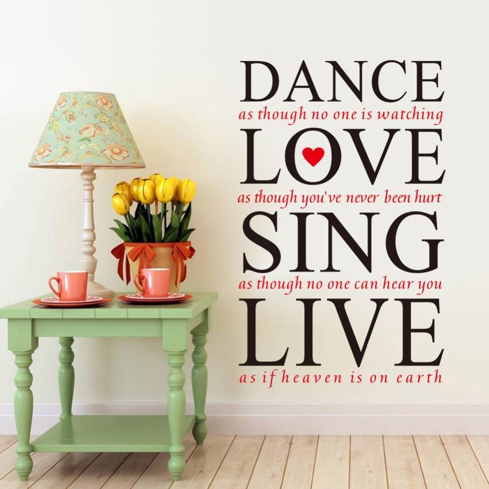 Dance Liebe Singen Live Pvc Wandaufkleber Familie Englisch Zitate Wohnzimmer Schlafzimmer Kinderzimmer Dekorative Startseite Decals