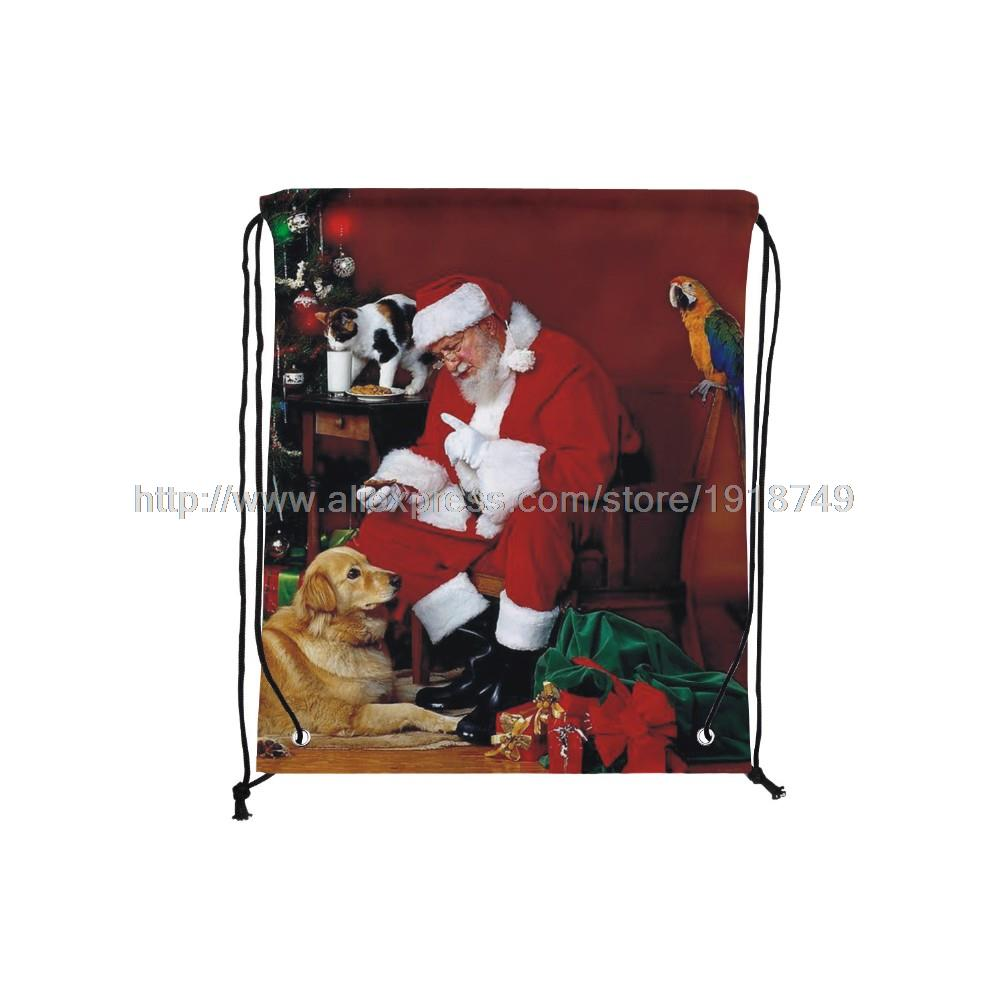 four pcs/lot father Christmas with various animals printed custom drawstring backpack xmas ornament decor foldable shopping bag