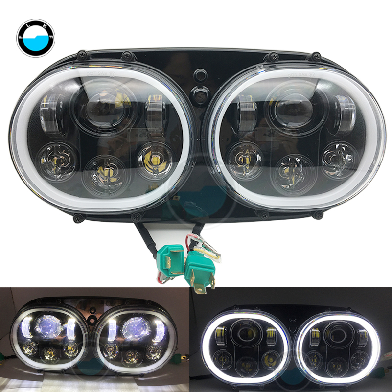 купить Motorcycle led headlight Accessories 5-3/4 Double Beam Motorcycle halo ring angel eyes LED Headlight for Harley Davidson. недорого