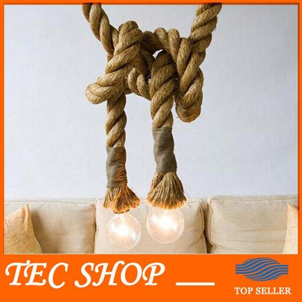 ФОТО JH LOFT INDUSTRIAL Toronto Manila 3M Rope Ceiling Lights Chandeliers RUSTIC vintage hemp rope light