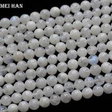 Meihan(2 нити/набор) натуральный А+ 5,5-6 мм Радужный Лунный Камень Гладкие Круглые бусины для изготовления ювелирных изделий или подарка
