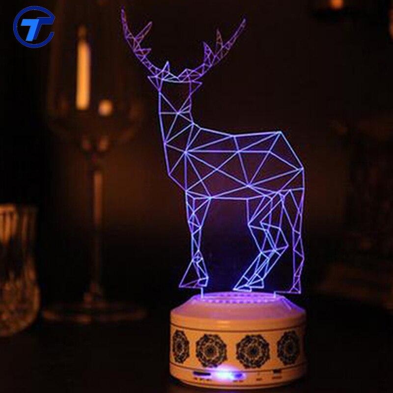 Bluetooth Speaker Parlante Portatil Receiver 3D Stereo Light Night Lamp Mini Portable Novelty Blue Tooth Tweeter