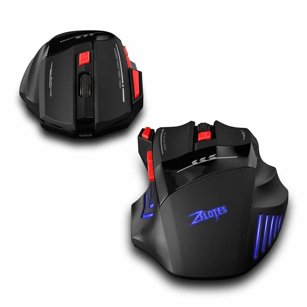 Voberry Zelotes 2.4G Pengisian Permainan Mouse USB Receiver 30 M Koneksi Nirkabel 4000 DPI Lokasi Yang Tepat