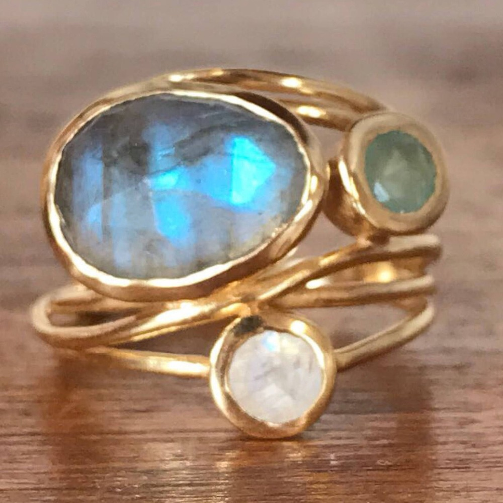 Cute Female Big Crystal Oval Moonstone Ring Fashion Yellow ...