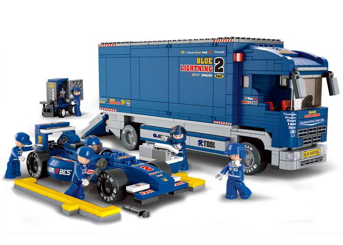 Sluban 641pcs F1 Series F1 Racing Truck Transporter Educational DIY Building Blocks Sets Bricks Toys Compatible With Lepin ws 641 1 статуэтка александр македонский 1221114