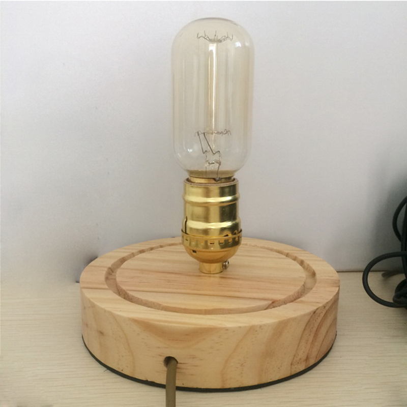 Арт деко стеклянная настольная лампа Спальня освещение E27 Edison Винтаж дуба Деревянные Настольные лампы ночной свет для дня рождения, рождест... - 5