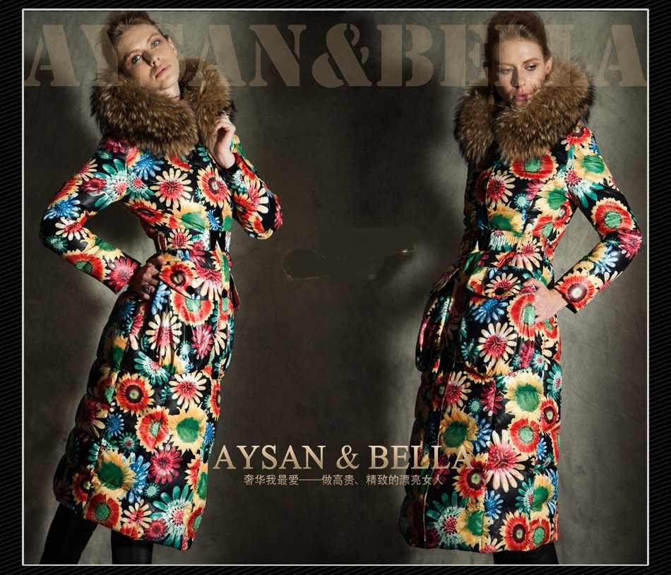 2016 chaqueta de invierno para mujer Chaquetas de plumón abrigo de marca de piel de mapache con capucha abrigos flor X-long down chaqueta Outwear