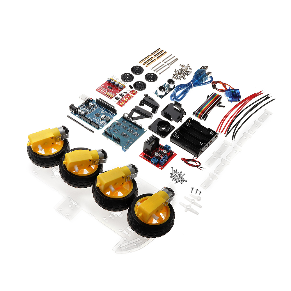 NEW 4WD DIY Smart Chassis Car Kit Module For Arduino For UNO R3 + Ultrasonic Module+Motor drive board