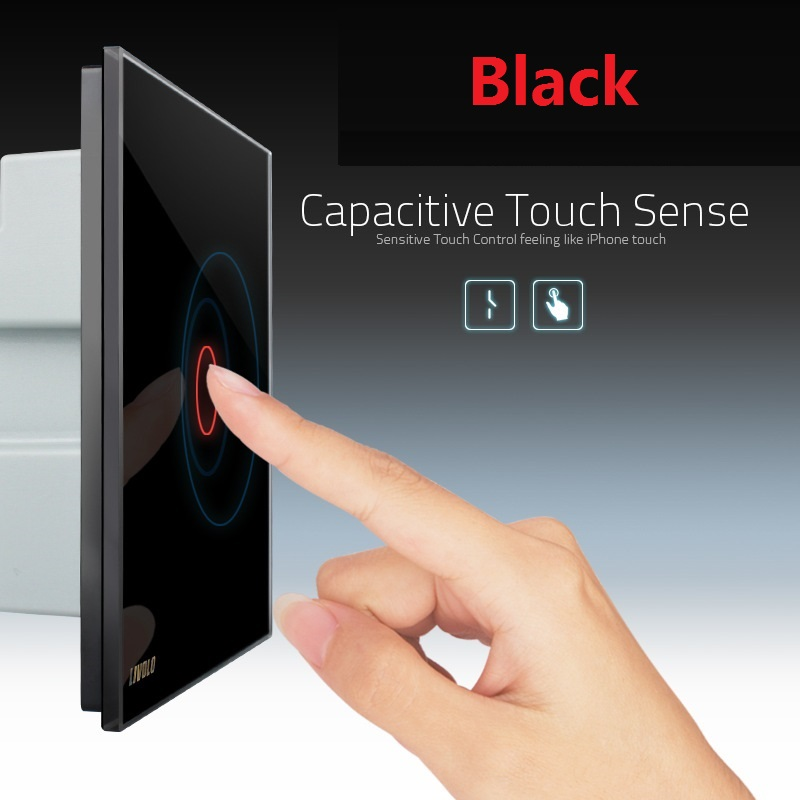 1Pcs 1Gang 1Way, AC 220~250V ,Touch On/Off EU Standard Wireless Light Switch Wall Switch 1Way Control Touch,Crystal Glass Panel vhome eu uk standard touch switch black 1gang 1way smart home wireles rf 433mhz remote control wall light ac170 250v