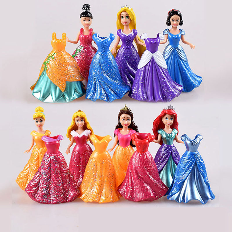 14 Pcs/Set Princess Snow White Figures Ariel Belle Rapunzel Aurora PVC Action Figure toys Dress Clothes Changeable toys 11pcs set disney princess toys cinderella belle mermaid ariel sofia snow white fairy rapunzel action figures disney doll gift
