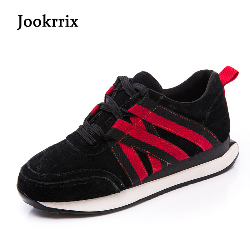Jookrrix 2018 Spring Fashion Brand Lady Leisure White Shoes Women Sneaker Girl Genuine Leather Shoes Cross-tied Black Lace Up