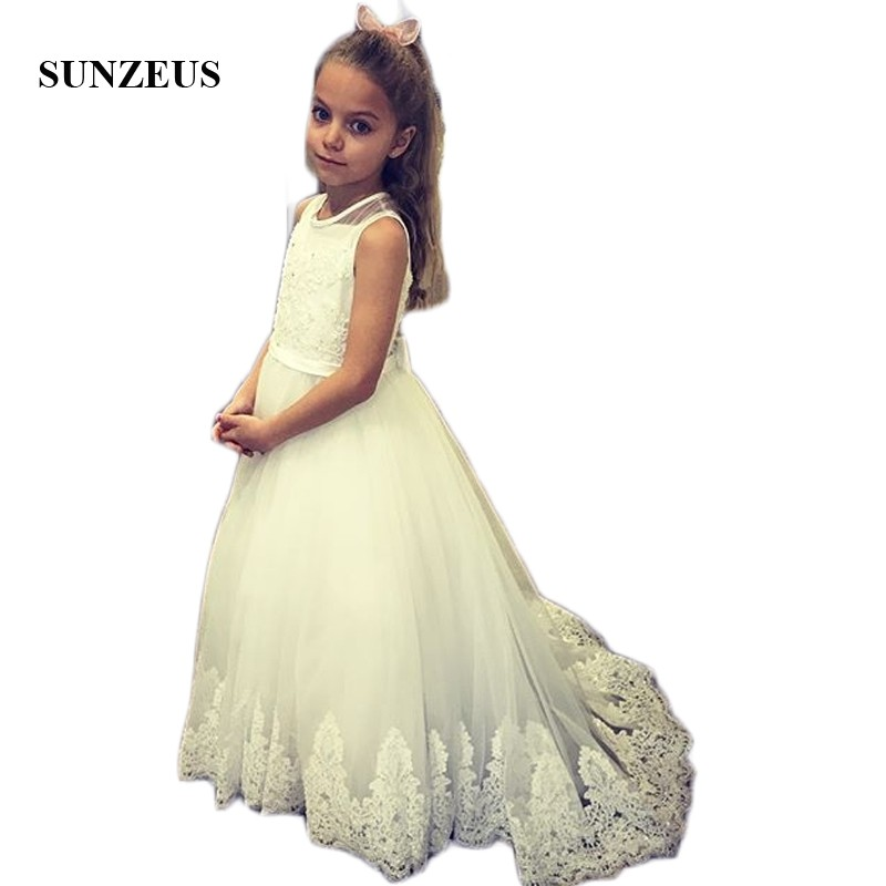 White Tulle A-Line Sweet   Flower     Girls     Dresses   O-Neck Tank Lace First Communion   Dresses   Back Bow Christmas Party   Dresses   SF16
