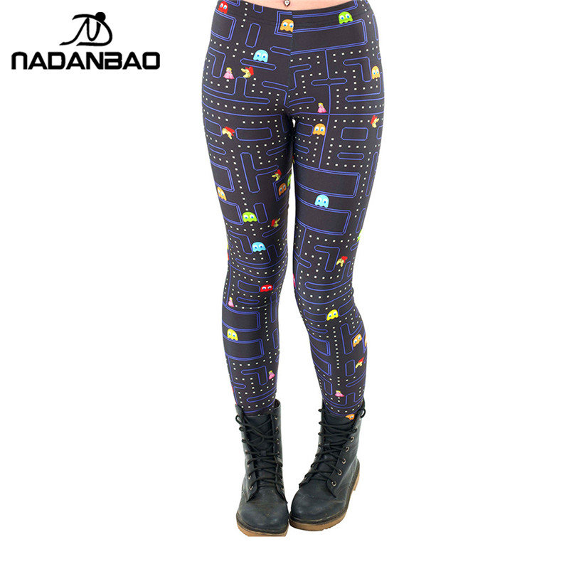 NADANBAO Black Milk New Maze Print Pacman Women Leggings Skinny Long Leggins Women Pant