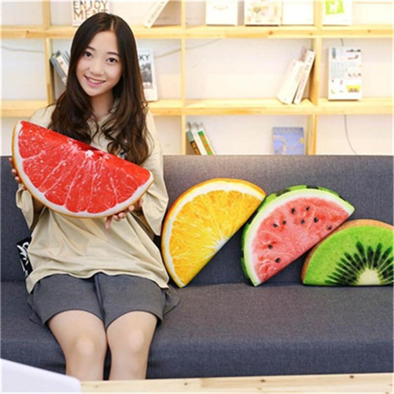 3D Fruit Pillow short plush Cushion Orange Watermelon Seat Pads Decor  Office Chair Back Cushions Sofa Throw Pillows 2018 a03646c19837