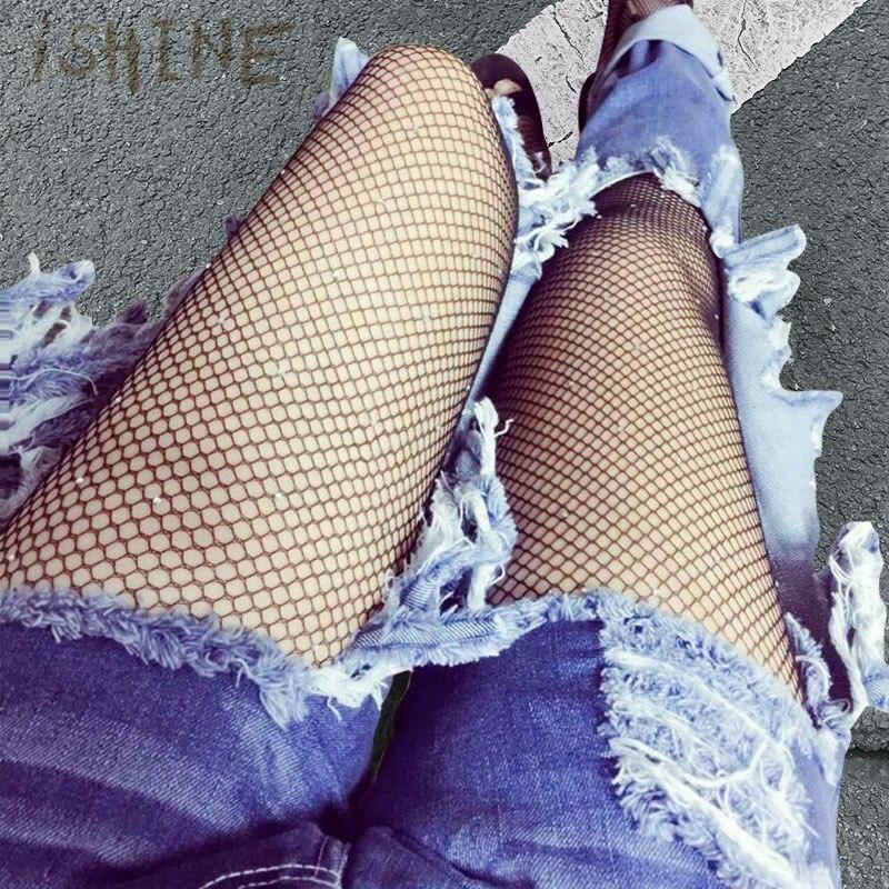 iSHINE Fashion Big Mesh Fishnet Black Net Stockings Coveralls Even Pants Stockings Sexy Adult Tights Non-slip Backing Tights