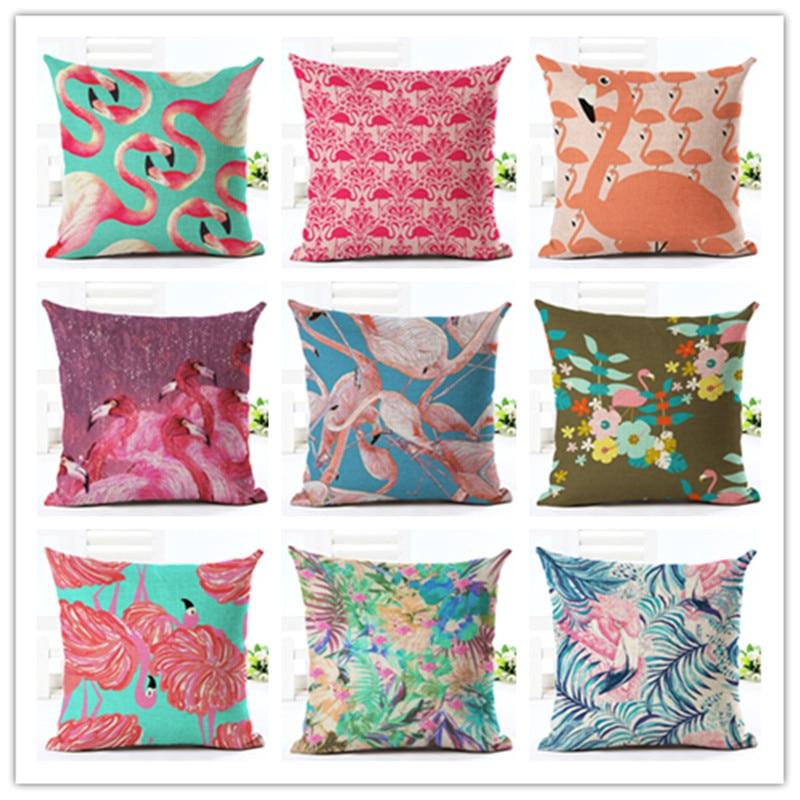 High Quality Car Printed Cotton Linen Blackout Curtain: 2016 New 45x45 High Quality Fashion Style Flamingos Print