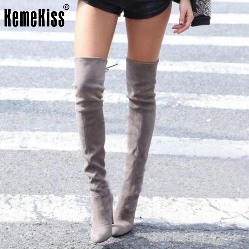 ФОТО Womens Stretch Slim Suede Over the Knee Boots Thigh High Boots Sexy Fashion High Heel Boot Shoes Woman Black Grey Size 34-43