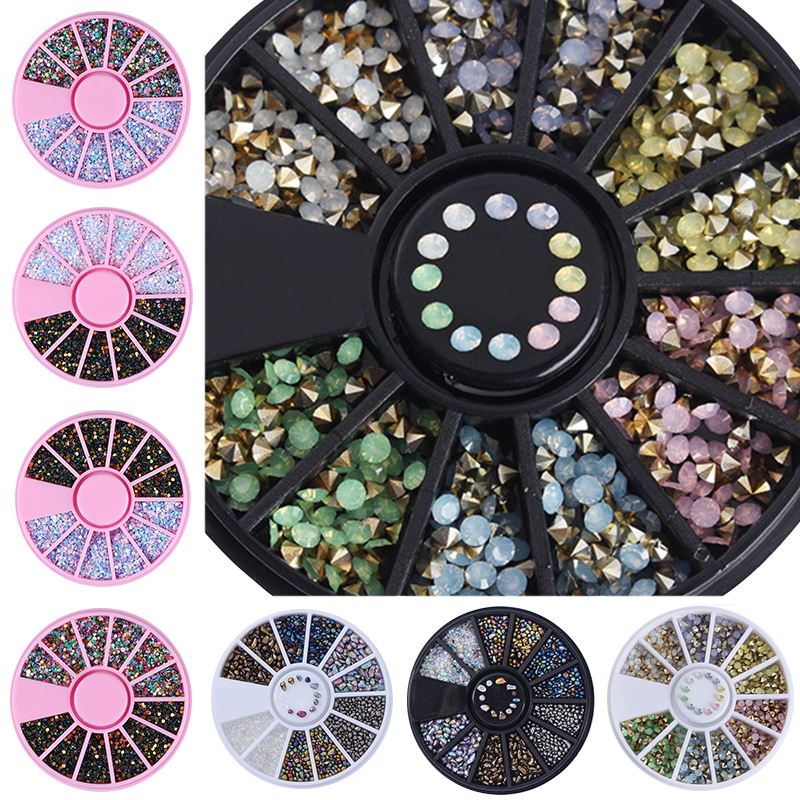 Chameleon Stone 3D Nail Art Decoration in Wheel Irregular Beads Nail Rhinestone Mixed Color Caviar Beads Flat Bottom Nail Studs 3d half round beads stud nail art decoration tip wheel