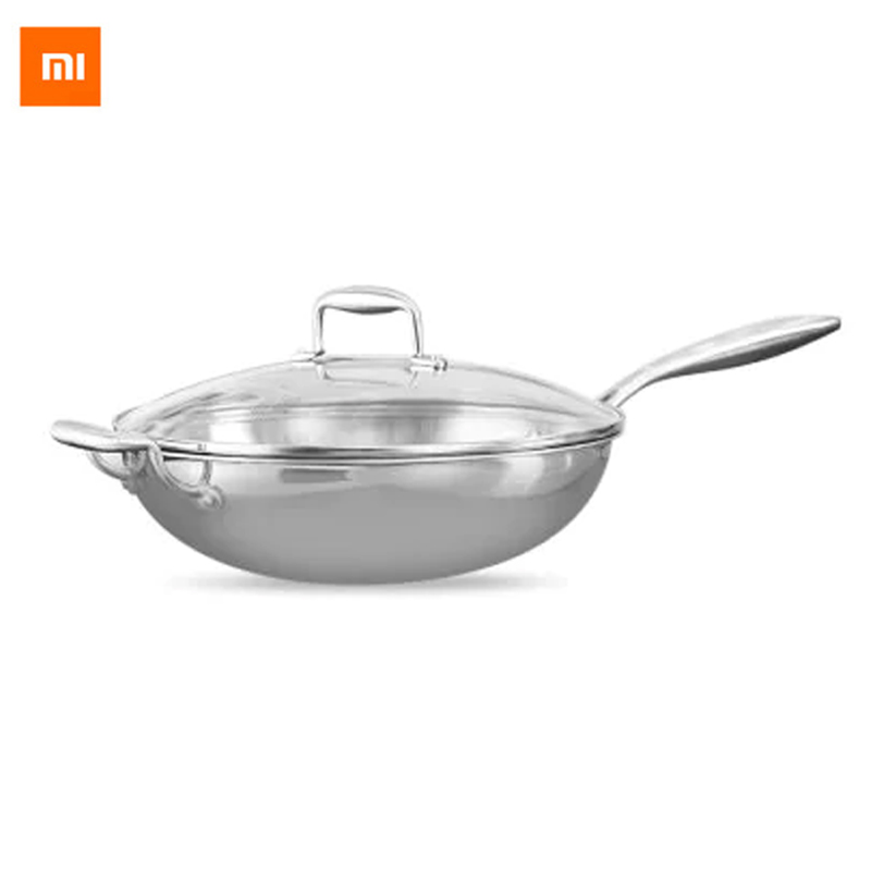 Xiaomi Mi Healthy Stainless Steel Saute Pan Skillet with Helper Handle and Cover Multipurpose