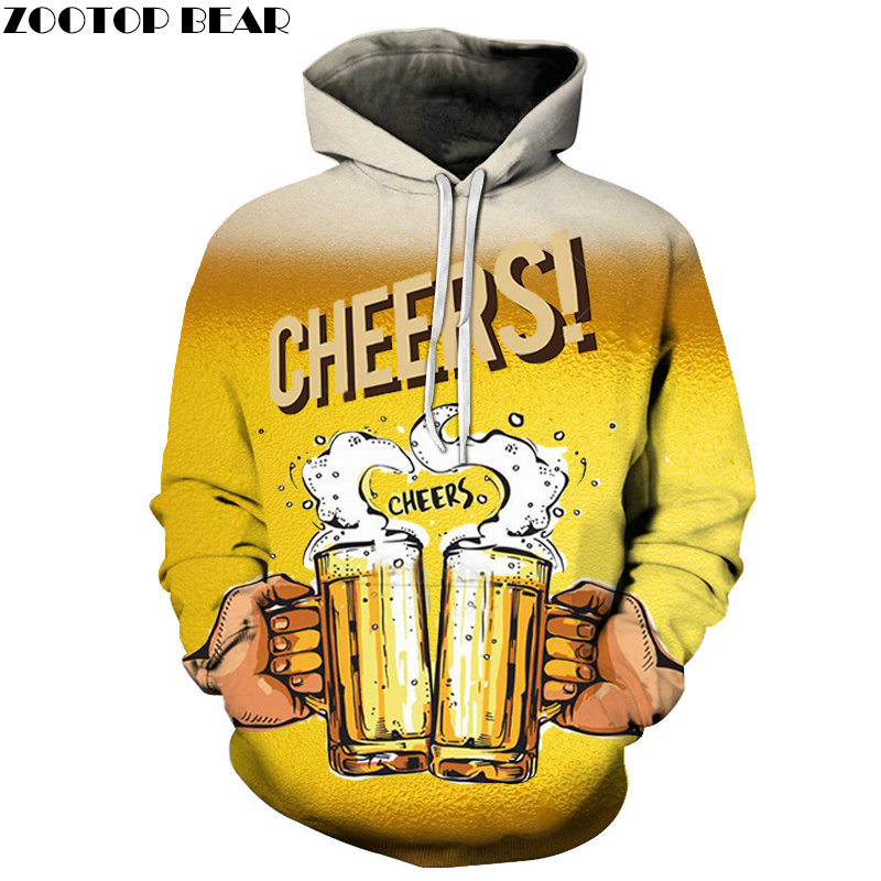 Novelty Hoodies Men Sportsuit beer stout Cheers Sweatshirt Brand 3d Pullover Casual Tracksuits Drop Ship Long Sleeve ZOOTOPBEAR