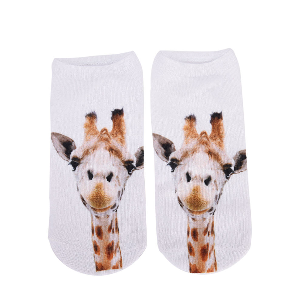 1Pair Unisex 3D Giraffe Socks Casual Cute Harajuku Funny Animal Socks Low Cut Ankle Sock for Men Women