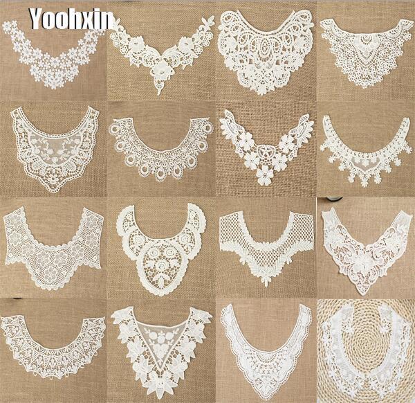 Luxury White cotton embroidery flower lace collar Fabric Sewing Applique DIY  guipure dubai ribbon trim neckline 99ab213f1de8
