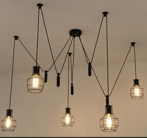 American country retro loft iron pendant light  pulley cage Industrial Art Kitchen Dining Room hanging lighting lamp