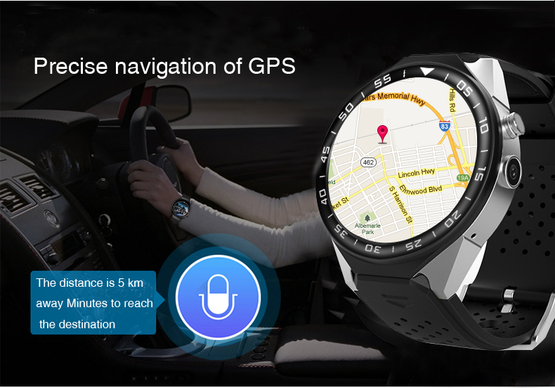 3G Android Smart Watch Phone Heart Rate Monitor Touch Screen Support GPS Wifi SIM Camera App silver 3 5