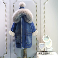 girl boy winter denim coat real fur hooded coats kids baby thick warm jackets overwear 2 14T