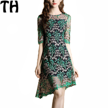 2017 new summer dress women vintage floral embroidery lace dress half sleeve o neck ladies casual retro dresses vestidos FY23