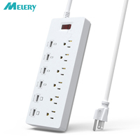 USB Outlets Power Strip 1625W/13A Surge Protector 6 AC US Outlets Plug Sockets with USB Charging 6 Ports 1.8m Extension Cord