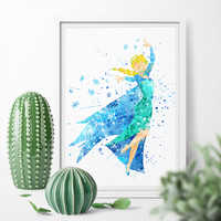 Watercolor Cartoon Princess Beauty Frozen Elsa Cute Girl Wall Art Canvas Poster Print Canvas Painting Sticker Home Decor