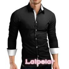 Laipelar  Men Shirt Brand 2018 Male High Quality Long Sleeve Shirts Casual Hit Color Slim Fit Black Man Dress 4XL C936