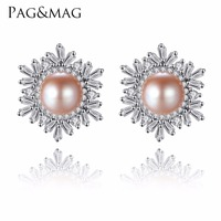 PAG MAG Female Snowflake Stud Earrings Real 925 Sterling Silver Jewelry High Quality Natural Pearl For