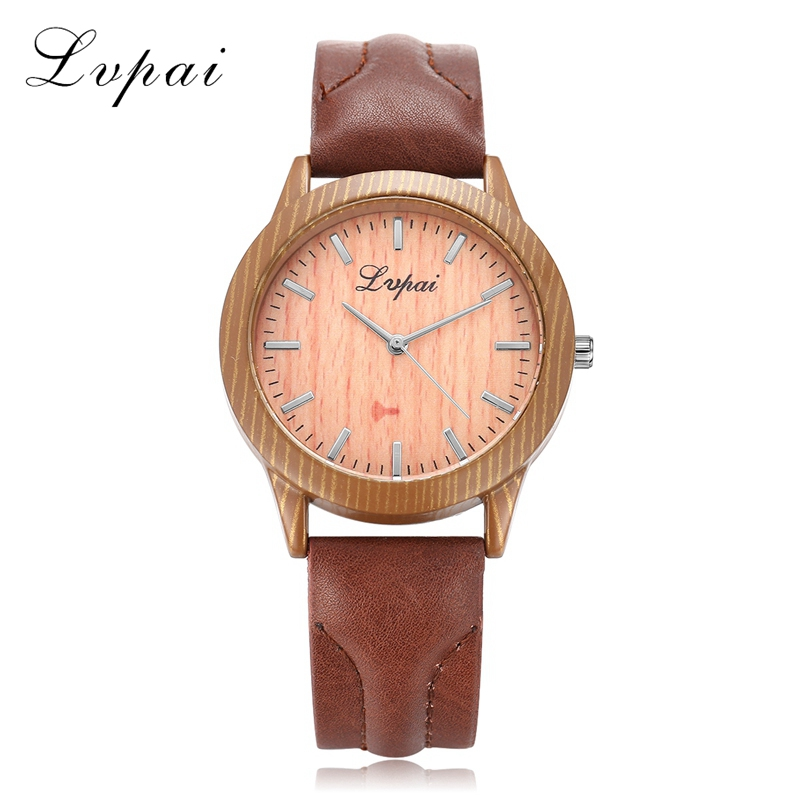 Lvpai Brand 2017 Hot Sale Women Fashion Quartz Watches Luxury Leather Strap Dress Wristwatch Business Wooden