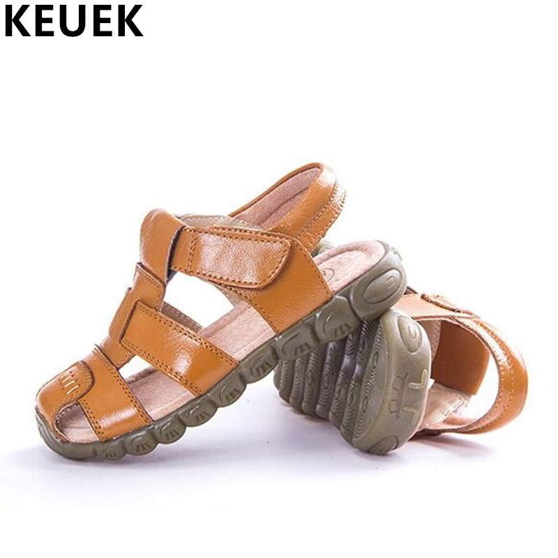 Children Sandals Hook & Loop Genuine leather Sandals Boys Girls Summer shoes 018