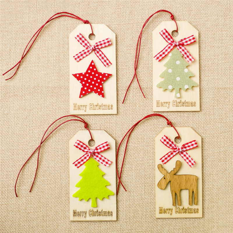 Wooden Sign Style Hanging Xmas Tree Pentagram Elk Pattern Wood Christmas Ornaments Pendant Festival Gifts 4 Styles