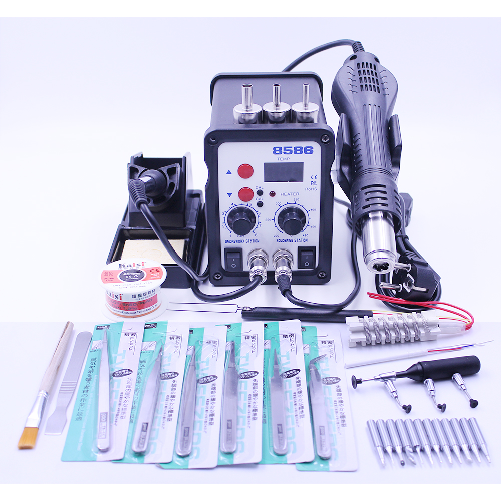 Soldering Station 8586 700W 2 in 1 Hot Air Gun Solder Iron BGA Rework Desoldering Station Heat Gun Welder Repair Tool Free Gifts yihua 898d led digital 700w lead free smd desoldering soldering station hot air soldering station