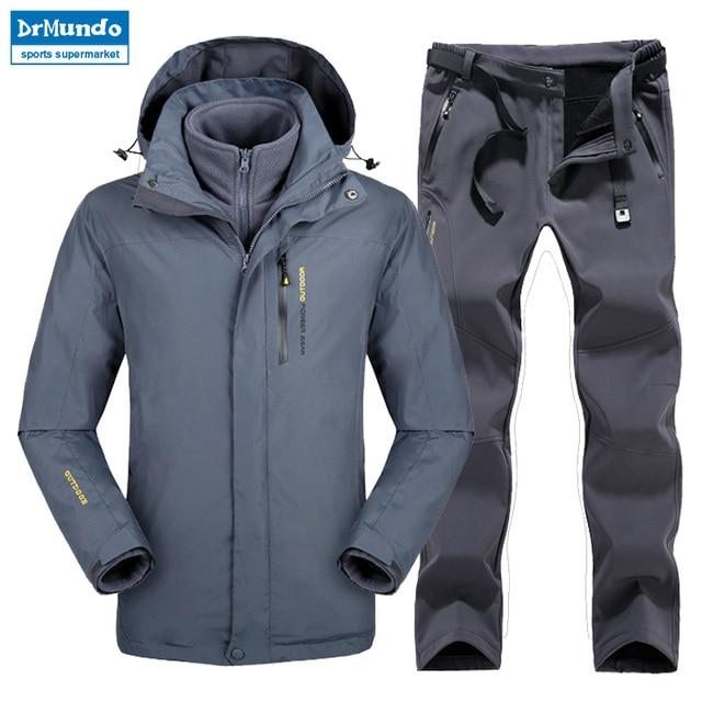 Plus Size Men Skiing Ski-wear Waterproof Hiking Outdoor jacket Snowboard  jacket Ski suit men Large Size Snow jackets 1bf609b666cf