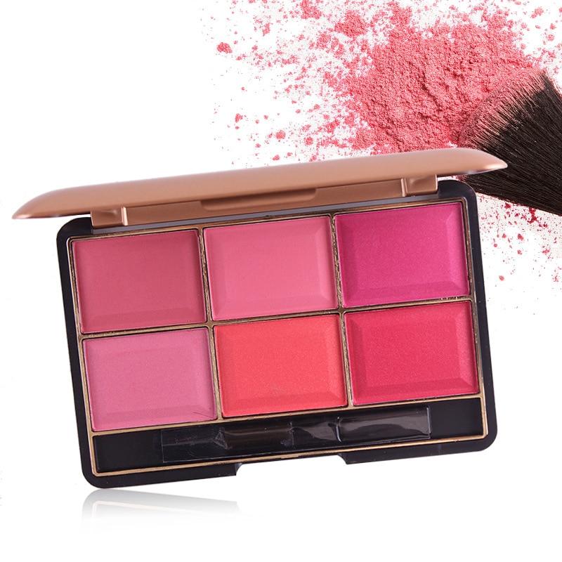 Aurelife Brand Makeup Cheek Blush Powder 6 Color Blusher Powder Pressed Foundation Face Makeup Blusher With Brush Face Blusher