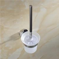 Free Shipping SUS304 Stainless Steel Mirror Effect Toilet Brush Cup Holer Rack bathroom Brush Shelf Bathroom Accessories Set