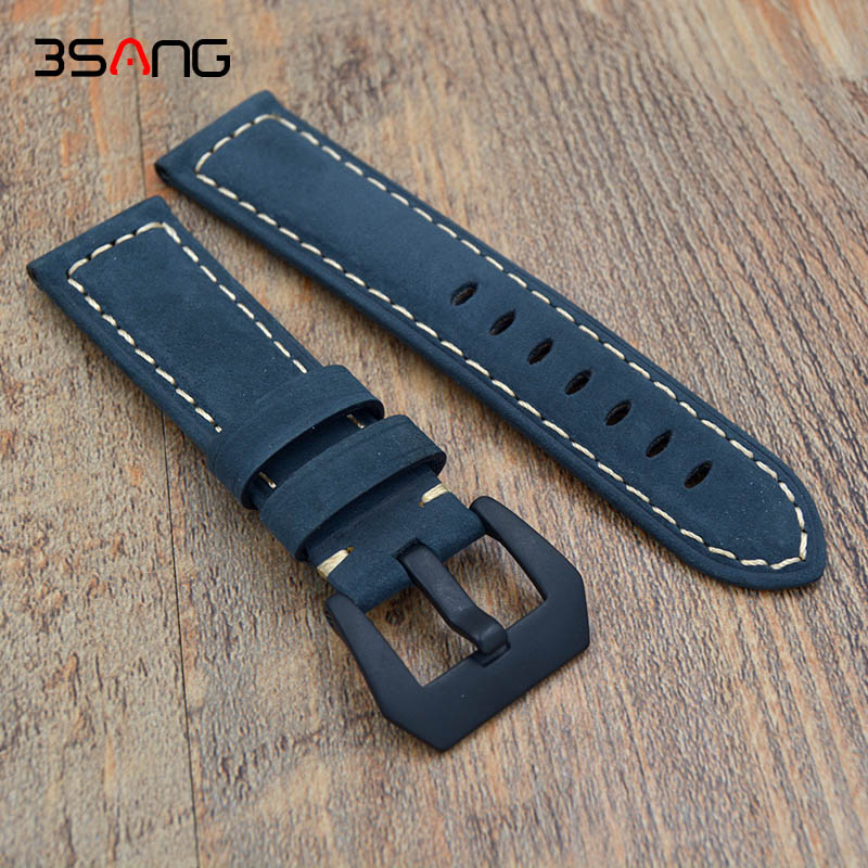 New Quality Genuine Leather Watch bands 22mm 24mm For Mens Scrub Strap For Panerai Straps Black Brown Blue Free Shipping! popular black skull sports watch silicone bands touch screen led watch women mens free shipping gitt for lovers couple