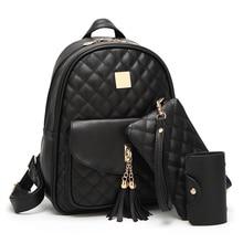Женщины Рюкзак Мода Высокое качество кисточкой школьные сумки для девочек-подростков из искусственной кожи Школьный рюкзак 3 шт./компл.