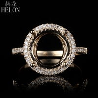 HELON New Style! Solid 14K Yellow Gold Engagement Wedding Semi Mount Real Diamonds Fine Ring Setting 8mm to 10.5 mm Round Cut