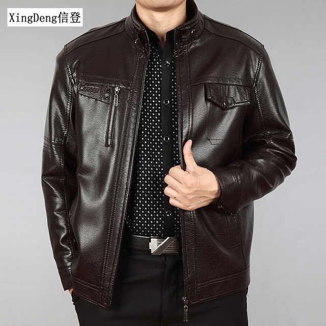 XingDeng PU Brand Leather warm Jackets Men Waterproof Zipper Loose Casual overcoats Business Winter Male clothes plus 5XL Others Men's Fashion