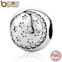 BAMOER 100 925 Sterling Silver Twinkling Night Clip Little STARS Clear CZ Charms Fit Bracelet DIY