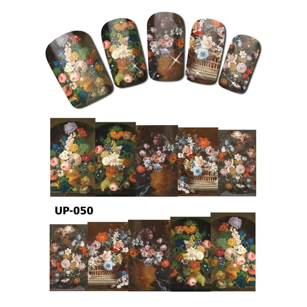 UPRETTEGO NAIL ART beauté tatouage transfert d'eau décalcomanie curseur peinture à l'huile VINTAGE VASE soleil fleur ROSE dieu mère UP049-054