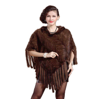 Lady Real Knit Mink Fur Shawl Tassels Trim with Hoody /Poncho/Women's Clothing/Free shipping/Wholesale/Retail