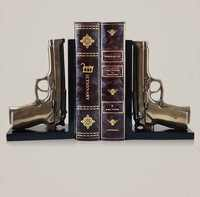 Creative Pistol Model Bookends Decorative Resin Gun Book Stands Desktop Organizer Stationery Supplies Ornament Gift and Craft